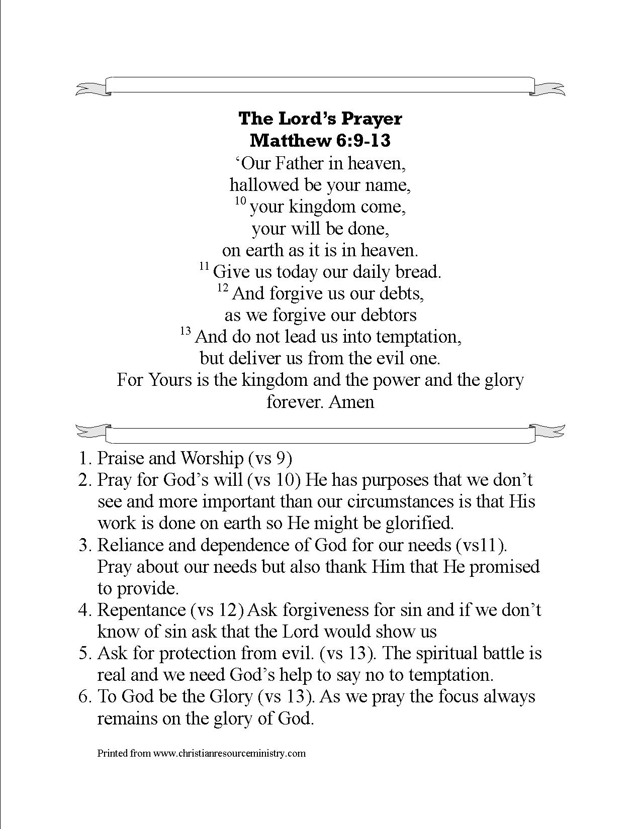 It is a graphic of Dashing Free Printable Lord's Prayer